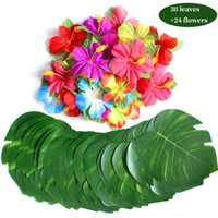 Wholesale luau flowers resale online - 24pcs Flowers Simulation Flower Leaf Tropical Party Supplies For Hawaiian Luau Party quot Tropical Leaves Hibiscus Flowers