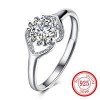 серебряное кольцо оптовых-Ladies Sterling Silver 925 Ring Jewelry Charm Zircon Sterling Silver Adjustable Rings Female Wedding Valentine's Day  Gift