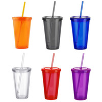 Wholesale iced tea drinks for sale - Group buy 500ml Double walled Ice Cold Drink Coffee Juice Tea Cup Reusable Smoothie Plastic Iced Tumbler Travel Mug With Straw Acrylic Skinny Tumbler