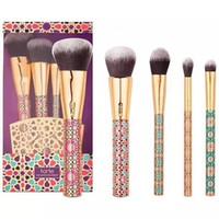 cepillo de madera para cimientos al por mayor-Make Up Brush set 5pcs brush con portaescobillas 1 juego de madera Nylon Foundation Eye Shadow Corrector Maquillaje Pinceles Herramientas LJJK1712