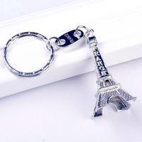 ingrosso torre eiffel di souvenir francese-Torre Eiffel Portachiavi Stamped Parigi Francia Torre anello chiave del pendente della moda doni souvenir Parigi Portachiavi Ciondolo color argento KKA7580