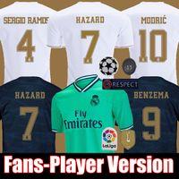 camiseta de futbol top madrid al por mayor-Camiseta de fútbol HAZARD 19 20 REAL MADRID versión de los fans de jugador Jerseys HOMBRE MUJER NIÑOS  soccer jersey Camisa Liga de campeones Jersey de 2019 2020 sergio ramos
