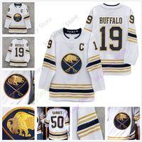 ingrosso patch caldo di ghiaccio-Buffalo Sabres 50th Golded Jersey Jack Eichel Jeff Skinner Rasmus Dahlin Blank Adulto Uomo Taglia S-3XL All Stitched