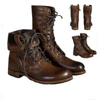 media bota de seguridad al por mayor-Alta calidad de los hombres occidentales botas de diseño zapatos de Martin mitad bota de seguridad de trabajo de cuero de la vendimia de los botines con cordones de la zapatilla de deporte Botas US13