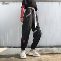 ingrosso pantalone di sudore baggy-Formato più Pantalon Grande Femme nero Harajuku Cargo Sweat Alto stile coreano a vita alta Baggy Pantaloni pantaloni delle donne pantaloni della tuta