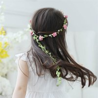 Wholesale flower pieces for hair for sale - Group buy Cheap Girls Head Pieces Hair Flower Floral kids headdress garland holiday Rattan flower with a long tail for boho wedding studio photography