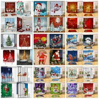 cortinas de ducha de navidad al por mayor-116 styles 180 * 180cm digital shower curtain Santa printed polyester Christmas shower curtain cartoon waterproof shower curtain T3I5467