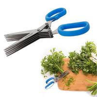 cuchillas ceramicas de circonia al por mayor-Tijeras multifuncionales de 5 cuchillas Tijeras de acero inoxidable Sharp Herb Shredder Scallion Spices Cut Kitchen Tool EEA147