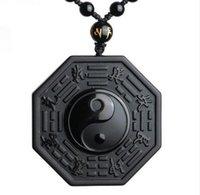 yin yang schmuck für männer großhandel-Schwarzer Obsidian Yin Yang Halskette Anhänger chinesische BAGUA Herrenschmuck Damenschmuck