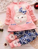 costume de lapin blanc achat en gros de-2015 automne coréen lapin bleu et blanc en porcelaine de commerce extérieur vêtements enfants fille costume enfants ensembles