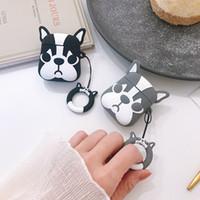 iphone için sevimli çift durumlarda toptan satış-Apple AirPods için 3D Sevimli Bulldog Köpek TPU Kılıf Koruyucu Darbeye Dayanıklı Şarj Taşınabilir Kulaklık Kapak Kılıfları ile Halka Tutucu Çift 100 adet