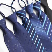 lazos de cremallera para los hombres al por mayor-8cm de la cremallera del lazo Tiras de negocios corbata Zip poliéster hombres de seda corbatas boda del novio del equipo Corbatas Arcos RRA2149