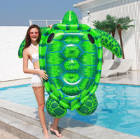 Wholesale toy sea turtles for sale - Group buy 175cm giant inflatable tortoise mattress floating Sea Turtle floats floating water seat chair adult kids swim pool raft toy