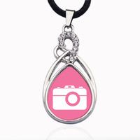 Wholesale camera chain jewelry online - Pink Camera Circle Charm Zinc Alloy Ball Chain Necklace Clear Crystal Link Chain Necklace Jewelry