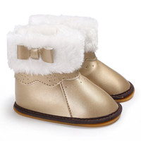 кожаные ботинки для девочек оптовых-Fashion Winter Warm PU Leather Baby Girl Snow Boots shoes Toddler Infant First Walkers Soft Rubber Soled Snowfield Shoes
