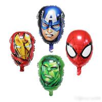 brinquedo homem casco venda por atacado-The Avengers Foil balões super hero homem hulk Capitão América Ironman spiderman Crianças brinquedos clássicos balão de hélio para crianças brinquedos