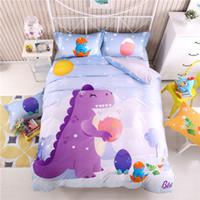 kızlar için yorgan toptan satış-Çocuk Odası dinozor Yatak Takımları erkek kız Yorgan kapak Yaprak yastık kılıfı setleri Dinozor Desen Baskı Yatak Seti KKA6894