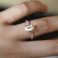 anel de casamento morganite venda por atacado-18 K Rose Gold Rings Set Magro Princesa Morganite Proposta Presente de Noivado de Diamante Claro Anel de Banda de Casamento Da Festa de Aniversário da Jóia