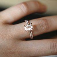 anillo de bodas de morganita al por mayor-18K anillos de oro rosa conjunto princesa delgada Morganite propuesta regalo claro diamante joyería fiesta de cumpleaños anillo de boda anillo de compromiso