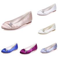 fildişi kristal ayakkabılar toptan satış-9872-22 Beyaz Mavi Fildişi Gümüş Mor Şampanya Saten Akşam Gelin Ayakkabıları Kristaller 1 cm Flats Yuvarlak Toe Gelin Dans Parti Ayakkabı Pompalar