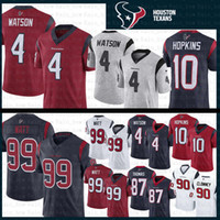 hopkins maillot achat en gros de-4 Deshaun Watson Houston 99 J.J. Watt Texans Jersey 2019 nouveau 10 DeAndre Hopkins 90 Jadeveon Clowney 87 Demaryius Thomas Maillots de football