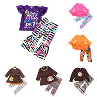Wholesale flower zebra resale online - Girls Lace Striped Sets Design Kids Flare Sleeve Tops Baby Grils Thanksgiving Turkey Suit Kids Designer Clothes Floral Casual Pants