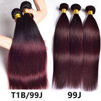 iki ton bordo dokuma saç toptan satış-Ombre Bordo Düz Saç Demetleri Malezya Perulu Brezilyalı Saç Örgü Demetleri 3 Adet / torba 99j 1b / 99j Iki Ton Ombre Düz İnsan Saç