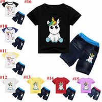 Wholesale cotton baby clothes wholesale for sale - Unicorn Kids Clothes Baby Outfits Boys Cartoon Clothing Sets Girls Printed Suits Child T Shirt Jeans Pants MMA1588
