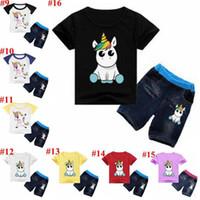 erkek çocuk kot pantolon gömlek toptan satış-Unicorn Çocuk Giysileri Bebek Kıyafetleri Erkek Karikatür Giyim Setleri Kız Baskılı Takım Elbise Çocuk T Gömlek Kot Pantolon MMA1588