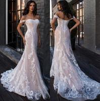 Wholesale shirts sexy backs online – 2020 Lace Mermaid Wedding Dresses Off The Shoulder Tulle Applique Court Train Wedding Bridal Gowns robes de mariée With Lace Up Back BC2449