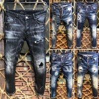 ingrosso giovani in vendita-2019 Nuovo famoso marchio grande designer lungo strappato giovani jeans da uomo individualità top qualità caldo di lusso jeans biker di moda per gli uomini vendita calda