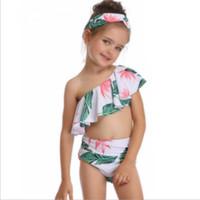 nadar cor sólida se adapte às crianças venda por atacado-Bebés Meninas swimwears ombro Slanted Crianças Bath Ternos Impresso Crianças Bikini Swimsuits Summer Girl roupa por atacado YW2924