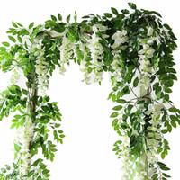 flores de folhagem artificial venda por atacado-2 M Flores Artificiais Cordas Simulação Wisteria Videira Rattan Guirlanda Plantas Folhagem Para O Jardim de Casa Decoração de Casamento Ao Ar Livre