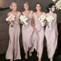 Wholesale hot pink royal purple wedding dresses resale online - Hot Sell Sheath Bridesmaid Dress Deep V Neck Floor Length Sleeveless Backless Blush Elastic Satin Bridesmaid Dress for Wedding