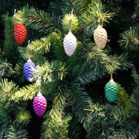 Wholesale colored ornaments resale online - 6pcs Christmas Colored Pine Cones Christmas Sequins Colored Balls Tree Ornaments Decorative Ball Crafts