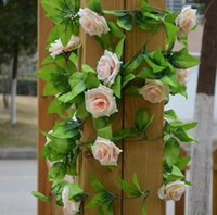 Wholesale artificial hanging plant decoration wedding resale online - Artificial plants cm Fake Silk Roses Ivy Vine Artificial Flowers with Green Leaves For Home Wedding Decoration Hanging Garland Decor