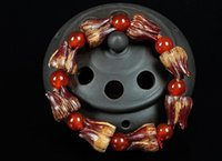 ingrosso semi di loto liberi-Koraba Fine Jewelry Rare Beautiful Blood Lotus Bodhi Seeds Beads Tibet Buddismo Amuleto Braccialetto Spedizione Gratuita