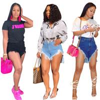 jeans acima da cintura venda por atacado-Mulheres calça jeans shorts cintura alta rasgado botão de bolso borla zíper denim acima do joelho Assimétrico cor natural roupas de verão plus size 462
