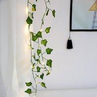 plantas artificiales luces led al por mayor-2M Creeper Green Leaf Ivy Vine Lights Plantas artificiales Led String Light 20Leds Para Garden Yard Lighting DIY Hanging Decor Plant