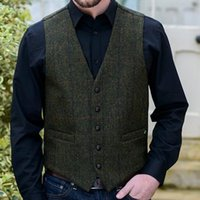 Wholesale new fashion dresses for wedding for sale - Group buy Gray Wool Groom Vests Herringbone Tweed Vest Slim Fit Men s Suit For Prom Country Wedding Waistcoat Dress Tailor Made New