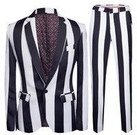 ingrosso vestiti di prom-Nuovi uomini Striscia Stampato Suits Slim Fit partito Suits 2 Pezzi Giacca Pant Prom Men Performance