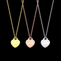 Wholesale love shaped necklace for sale - Group buy Fashion Titanium steel heart shaped love Pendant Necklaces for women rose gold silver necklace lady chain jewelry Accessories gift
