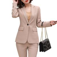 usar pantalones a cuadros de las mujeres al por mayor-Moda mujer trajes a cuadros trajes otoño nuevo temperamento casual profesional más tamaño de manga larga chaqueta y pantalones ropa de trabajo