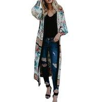 frauen gürtel strickjacke großhandel-Kimono Cardigan Top Cover Up Bluse Frauen aus hochwertigen Materialien Gürtel Verband Schal Print Bademode