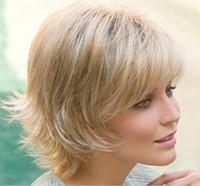 perücke alice großhandel-Alice Womens Brown Natürliche Kurze Haare Lockige Perücken Weibliche Hitzebeständige Hochtemperaturdraht Faserhaar Styling Blonde Perücke
