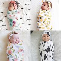 sobres de bebé recién nacido al por mayor-6 colores impresos floral sacos de dormir del bebé orejas de conejo hairband 2 unids conjunto envoltura envoltura envolvente del sobre recién nacido accesorios fotográficos Swaddling