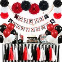 ingrosso ventilatori di carta rossa-20pcs Black Red Pirate Theme Birthday Party Decoration Set Buon compleanno Banner Paper Fan Latax Balloons Tassel Garland T190709