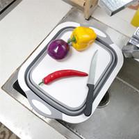 meyve sebze sepetleri saklama toptan satış-Katlanabilir Kesme Tahtası Çanak Küvet, Kevgir Meyve Sebze Yıkama ve Drenaj Lavabo Depolama Sepeti 3 1 Çok Fonksiyonlu Mutfak Gadget