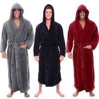 kimonos masculinos al por mayor-Moda casual para hombre albornoces de franela túnica con capucha de manga larga pareja hombres mujer bata de felpa chal kimono masculino cálido albornoz abrigo