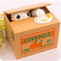 sparschweine cartoon  groihandel-New Gift Cartoon Cute Creative Money Cat Piggy Bank Steal Money Cat Child Electric Lucky Cat Coin Box Money Bank Box